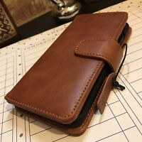 Xperia XA1 Plus Rugged Real Genuine Leather Wallet  Book Case In Tan
