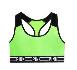 Victoria Secret PINK Ultimate Neon Green Racerback Logo Sports Bra crop Top S