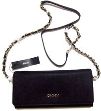 DKNY BRYANT PARK SAFFIANO LEATHER BLACK CROSSBODY wallet on a chain NWT