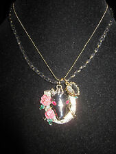 BETSEY JOHNSON LADY LUCK BLACK HORSE HEAD IN HORSE SHOE NECKLACE COWGIRL FFA 4 H
