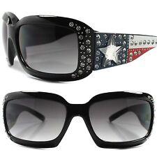 Elegant Texas Flag Rhinestone Bling Large Oversized Stylish Womens Sunglasses