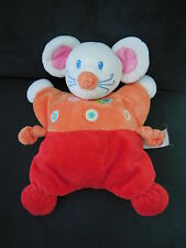 Doudou peluche semi plat souris rouge orange escargot NICOTOY