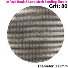 10x 80 Grit Silicon Carbide Mesh 225mm Round Sanding Discs –Hook & Loop Backing