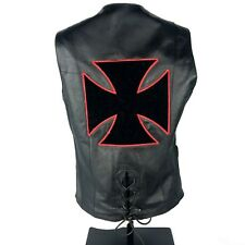 USA Bikers Dream Apparel Women Leather Vest w/ Iron Cross Red Black Patch Sz M