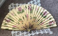 Vintage Wall Paper Decorative Pleated Fireplace Fan Brass Base Yellow Floral