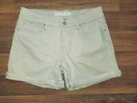 Denizen By Levi's Stretch Size 4 Cuffed Low Rise Khaki Denim Shorts