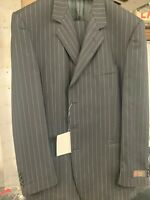 New 44L 3 Button Men's Black Pinstripe Suit 100% Wool Made in Italy Retail $1295