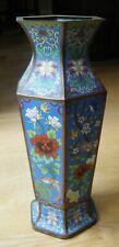 "Vintage Large Chinese Bronze Cloisonne Enameled Vase Birds Blossoms, 15.5"""