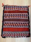 Vintage Caucasian Soumak Wool Large Tribal Woven Bag Tapestry Red Wool Textile