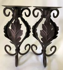 Candle Holders 8 Inch Tall Pillar Painted Bronze Leaf Scroll Wrought Iron Decor