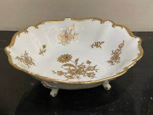 Vintage Jlmenau Graf Von Henneberg Porcelain Footed Floral Bowl Centerpiece