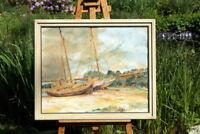 altes Ölgemälde Schiffe am Strand signiert M. Thamm 38 wertvolle Künstlerarbeit
