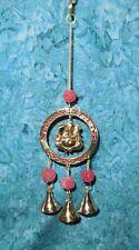 "Lord Ganesh Wall Hanging NEW Brass & Rudraksha Bead 3 bells Wind chime 11"" x 3"""