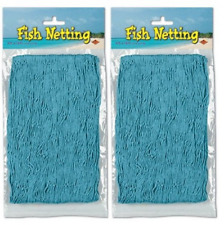 Nautical Decorative Fish Netting - 4' x 12' 2 Count (Pack of 1), Turquoise