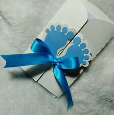 10 Baby Shower invitations Cards Personalized Blue Feet design for Boy