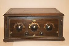 BEAUTIFUL 1925 ERLA RADIO RECEIVER with GOLD STENCILED FRONT and DOUGHNUT COILS