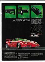 1985 Print Ad Alpine Car Stereo System ~ Red Lamborghini Sports Car