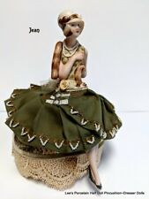 Porcelain Half Doll w/ LEGS, Collectible Art Doll, Dresser Doll , Flapper Doll