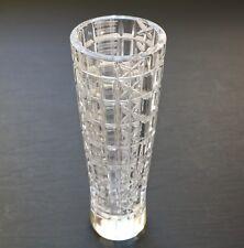 Vintage Lead Crystal Vase Bohemia Czech Block Design Czechoslovakia