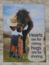 LEANIN TREE Hearts For Caring, Hugs for Sharing #67326 Frig Magnet~Child & Pony~