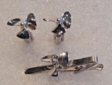 Sextant Sterling HLP/His Lordship Cuff Links Tie Bar Nautical Articulated 1950's