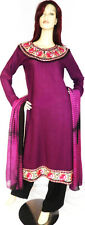 Shalwar kameez black purple pakistani designer salwar stitched abaya suit uk 12
