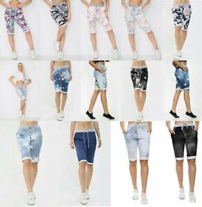 Italian Ladies Women Girls Turn Up Summer Cotton Beach Shorts Pants Size 10-20