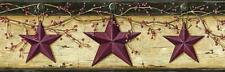 Wallpaper Border Country Rustic Barn Stars with Winterberries