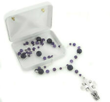 Sterling Silver and Amethyst Catholic Rosary Prayer Beads / Cross Necklace
