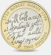 £2 Coin - 'Auld Lang Syne' Robert Burns 1759 1796 - Rare - Collectable - Pound