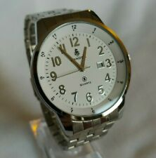 Men's 45mm Sandoz Quartz Analog Date White & Silver Dial Stainless Steel Watch
