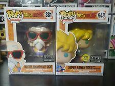 Funko Pop Dragon Ball Z Super Saiyan Goku Gitd Fye Exclusive 2x Lot Master Roshi