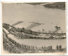 1940s? Vintage photo of aerial view of Detroit Yacht Club, Detroit, Mi. boats