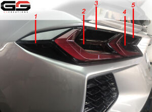 Tail Light Reflector Reverse Turn Blackouts Smoked Covers For 2020 C8 Corvette