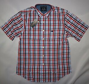 RAGING BULL MENS LONG SLEEVED CHECK SHIRT IN RED / WHITE / BLUE SIZE M NWT