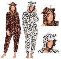 Womens Onezee Luxury Soft Coral Fleece Hooded Animal Print All in One Pyjamas