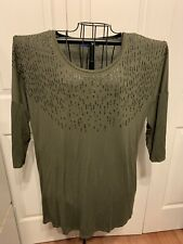 Women's Clothing APT 9 Olive Embellished Pullover Blouse Shirt Top Size XL