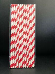 Red&White Striped Paper Straws 19.5cm Biodegradable 1/12/24/48/96/252/756/1000