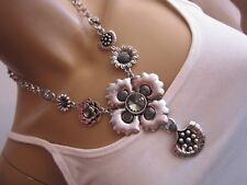 STRASS Collier Damen Hals Kette kurz Modekette Silber Glitzer Statement B776