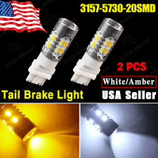 2x Dual Color Amber/White 3157 5730 20SMD Tail Brake Stop LED Light Bulbs 12V