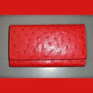 Vintage Genuine Ostrich Leather Clutch Wallet Red