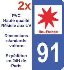Sticker Autocollant plaque immatriculation Département 91 Essonne Ile France X2