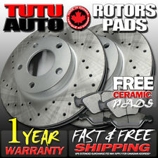 C0340 FIT 2003 2004 Nissan Frontier V6 Cross Drilled Brake Rotors Pads F