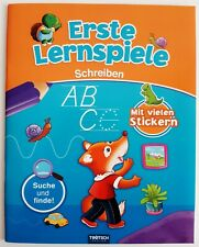 Erste Lernspiele Schreiben ABC Buch Kinderbuch Heft mit Stickern Vorschule NEU