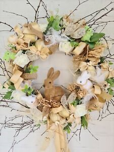 Beautiful Handmade Easter Wreath Large 50 Cm with flocked bunnies