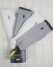 NEW NWT 4 X PAIRS POLO RALPH LAUREN MEN WHITE GRAY CREW RIBBED LONG SOCKS.