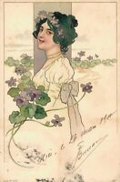 Art Nouveau Lady Flowers Artist Signed 04.35