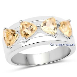 Natural Citrine Gemstones with 925 Sterling Silver Ring For women's
