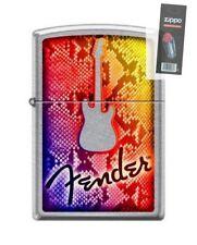 Zippo 7570 Fender Guitar Street Chrome Finish Lighter + FLINT PACK