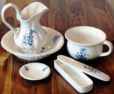 Waschset Keramik Waschgarnitur Porzellan Seifenschale Dose Antik Wasserkanne